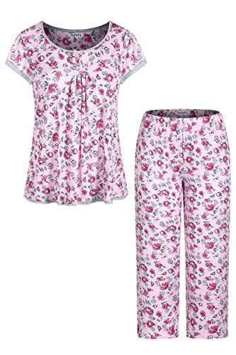 SofiePJ Women's Rayon Cap Sleeve Floral Printed Top with Capri Pants Pajama Set Pink White XL