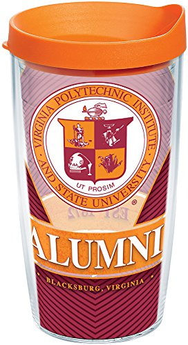 - Tervis 1211132 Virginia Tech Hokies Alumni Insulated Tumbler with Wrap and Orange Lid, 16 oz - Tritan, Clear