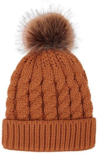 Women's Winter Soft Knitted Beanie Hat with Faux Fur Pom Pom, Orange