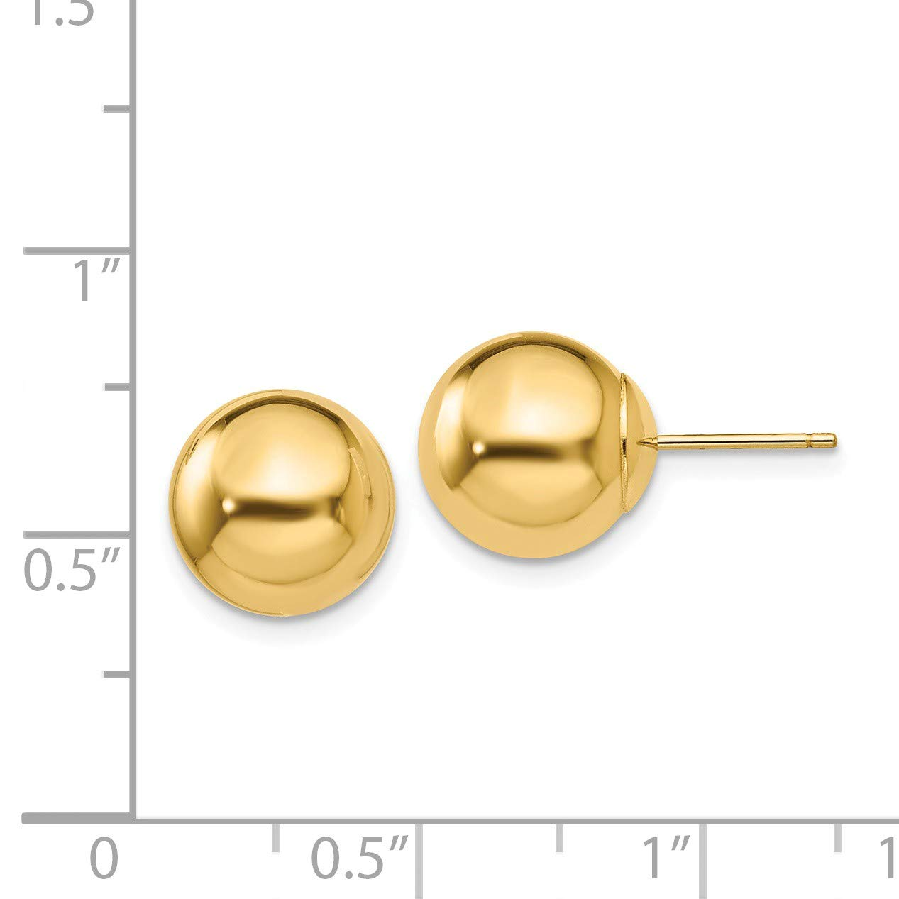14k Polished 10mm Ball Post Earrings in 14k Yellow Gold