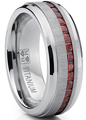 Metal Masters Co. Men's Eternity Titanium Wedding Band Engagement Ring W/Red Simulated Garnet Cubic Zirconia Princess cut CZ ()