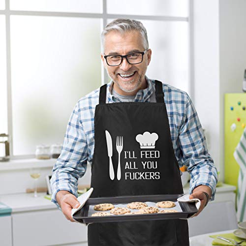 I'll Feed All You - Funny Apron for Men with 2 Pockets Adjustable Neck Strap 3