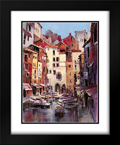 Mediterranean Seaside Holiday 1 15x18 Black Modern Frame and Double Matted Art Print by Heighton, Brent (Print Brent Mediterranean)