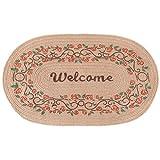 Front Door Mat Natural Monogrammed Jute Fibers, Eco-Friendly Rug, Outdoor Indoor Kitchen Bathroom Balcony Mats, Non-Slip, Absorbent, Resists Mud, American Star/Welcome/Home style, 29.5''×19.5'' (Rose)