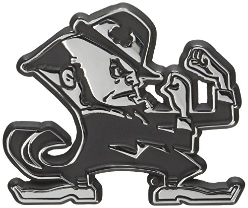 University of Notre Dame Leprechaun Chrome Metal Car Emblem by Elektroplate