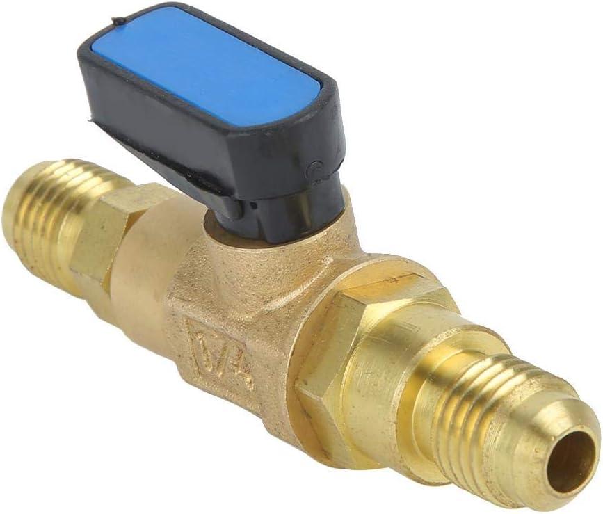 1//4SAE Herramientas de refrigerador de aire acondicionado Adaptador de ajuste de la v/álvula de control de refrigerante V/álvula de bola de fl/úor Kit de recarga de fl/úor 2.8x1.2x0.4 pulgadas