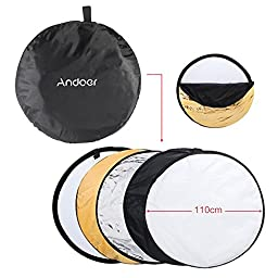 Andoer 250W Photo Studio Flash Strobe Kit with Light Stand / Flash Trigger / Soft Umbrella / Reflector Umbrella / Barn Door / 5in1 Reflector / Carrying Bag