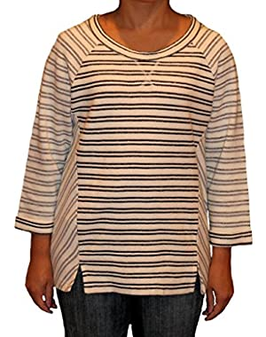 Women Stripe Mixed Pullover