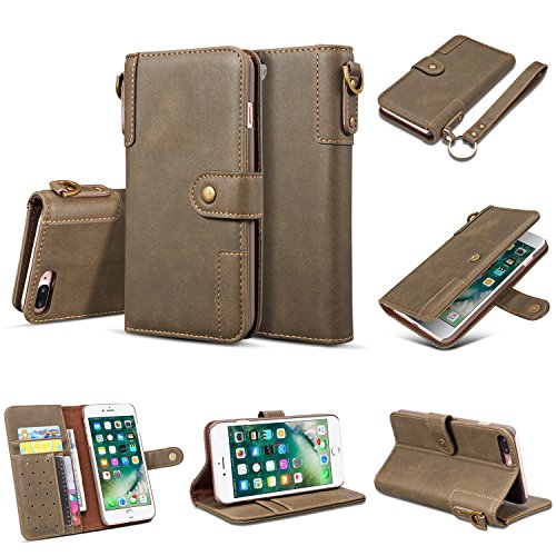 iPhone 7 Plus Wallet Case,iPhone 8 Plus Wallet Case,Vintage Cowhide Wrist Band Card Slot Quick Bracket Automatic Magnetic Suction buckle Wallet Leather Case For iPhone 7/8Plus. (Army Green)