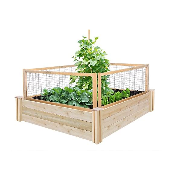 """Greenes Fence RCCG4PK CritterGuard Cedar Garden Fence, Pack of 4, 23.5"""" 3 Each panel measures 45 in. long by 23.5 in. tall Stakes push 7 in. into the soil leaving 16.25 in. of fence above the soil Helps protect against rabbits and other critters"""