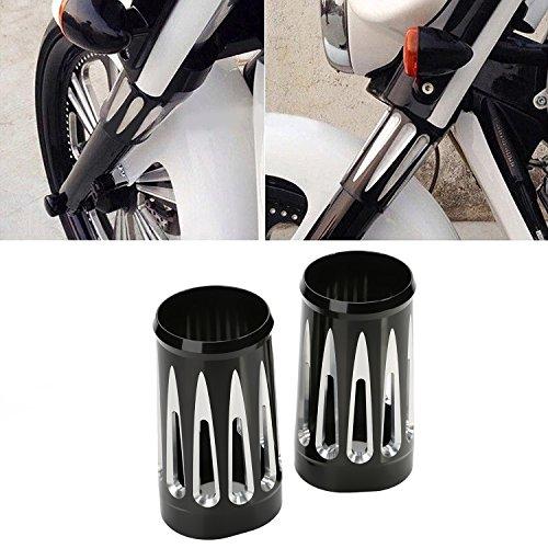 Billet Aluminum Fork - ECLEAR Edge Cut Billet Aluminum Fork Boot Slider Cover Cow Bell for Harley Touring - Black