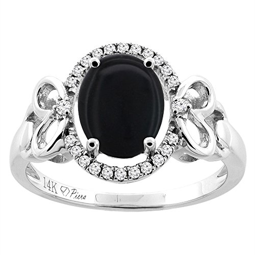 - 14K White Gold Natural Black Onyx Halo Ring Oval 9x7 mm Diamond & Heart Accents, size 9