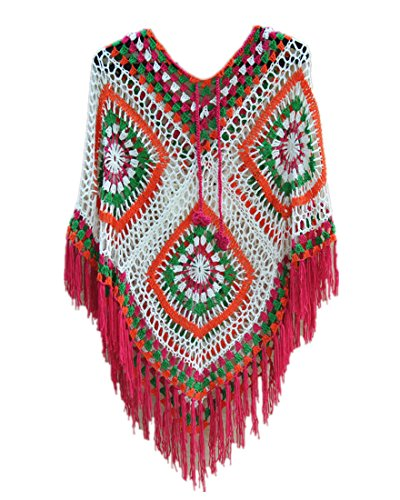 Hooded Granny Square Crochet Poncho with Fringe Boho Women Wrap Multicolor (L, IVORY)