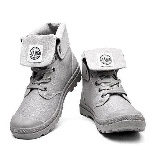 Rainstar Mens Sneakers Alte In Tela Scarpe Da Lavoro Lace Up Martin Boots Grigie