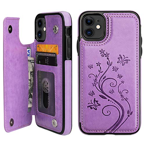 Vaburs iPhone 11 Case Wallet with Card Holder, Embossed Butterfly Premium PU Leather Double Magnetic Buttons Flip…