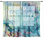 Abstract art sheer drapes, set with two 50''x84'' panels in blue green, aqua and cream, Cool Cucumber
