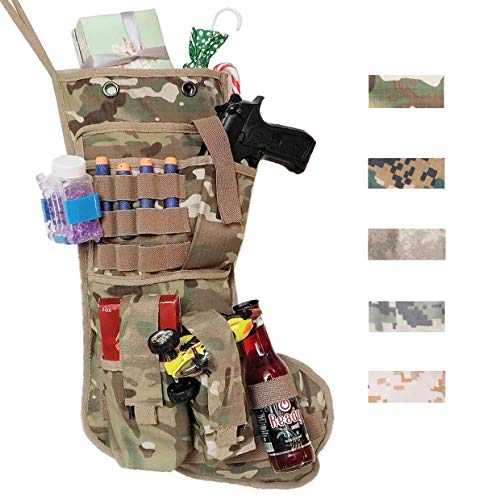 Beyond Your Thoughts New Tactical Christmas Stockings US Military with MOLLE Gear Webbing Durable Christmas Ornament for Family Decorations Multicam Camo (1 Pack) -