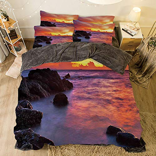 All Season Flannel Bedding Duvet Covers Sets for Girl Boy Kids 4-Piece Full for bed width 6.6ft Pattern by,Coastal Decor,Tropical Beach Sunset Golden Clouds Stones Calm Sea Summer Seaside Scene,
