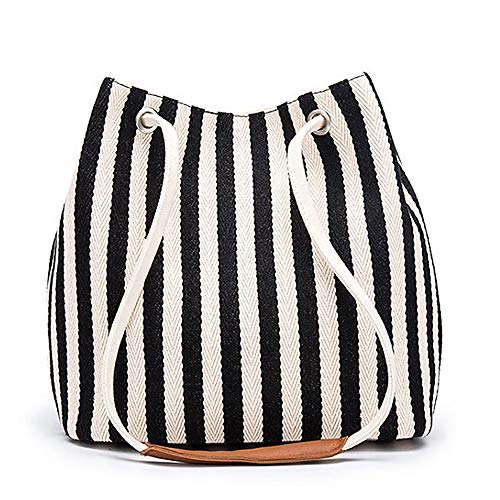 Women's Tote Bag Small Canvas Shoulder Bag Daily Working Handbag with Concise Striped Pattern (Black)