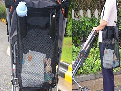 Premium stroller bag organizer with shoulder strap-Universal Fit for Most Baby Strollers (black)