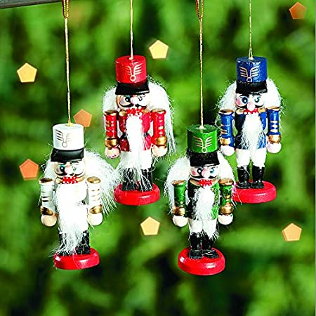 Xindian Nutcracker Christmas Decorations 38CM Wooden Nutcracker Retro Ornaments For Home Holiday Party Kids Childrens Gifts Green Large Christmas Nutcracker Soldier