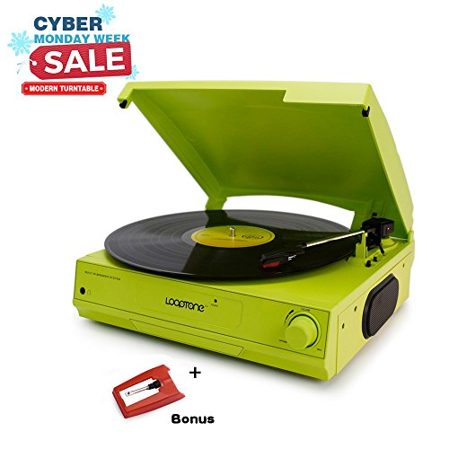 LoopTone A002GR Green Color Mini 3 Speed Belt Driven Modern Vinyl Turntable with Built in Speakers,Stereo Headphone Jack and RCA Line out,Extra Stylus
