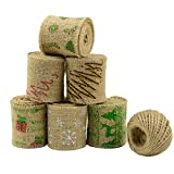 Aokbean 13 Yards/472 Inch Rustic Wedding Favor Jute Burlap Ribbon with Colorful Christmas DecorTrims Tape Ribbon with 98 feet Jute Twine