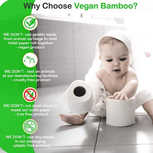 VEGAN BAMBOO Toilet Paper, 100% Organic Bath Tissue, Cruelty Free, 12 Family Mega Rolls, 12 = 45 Regular Rolls, 3 Ply Strong, Earth Friendly Plastic Free
