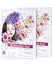 2 Pack Watercolor Paper, Ohuhu 9×12 Inch, 140 LB/300 GSM Heavyweight Watercolor Sketchbooks, 36 Sheets/72 Pages, Glue-Bound, Watercolor Pad for Marker Acrylic Watercolor Pen Pencil Painting Mixed Media Pads, Back to School Art Supply