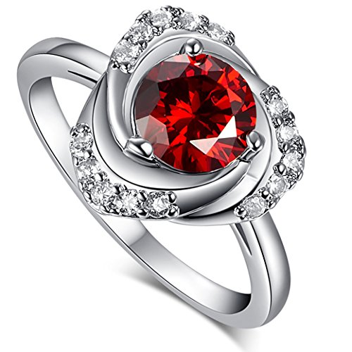 Narica Women's Elegant 7mm Round Cut Garnet CZ Wedding Ring - Garnet Ring Date