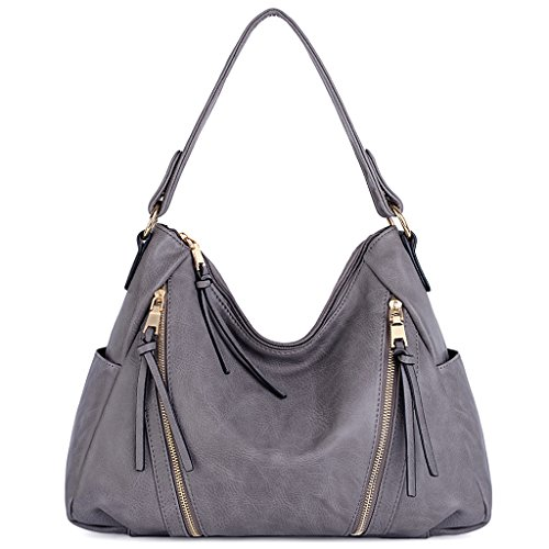 UTO Women Handbag PU Leather Purse Double Zipper 3 Ways Shoulder Bag A Grey ()