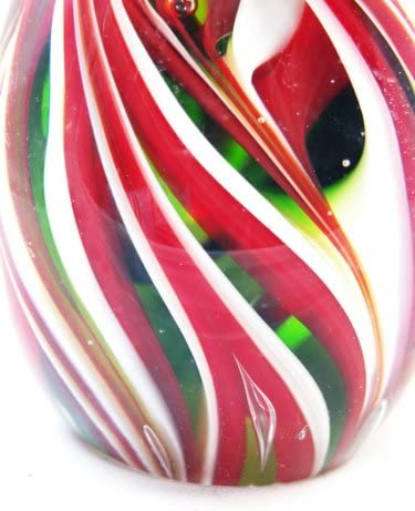 M Design Art Christmas Candy Cane Spiral Striped Egg Paperweight PW-690
