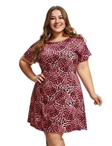 OEUVRE Women's Leopard Print Tee Shirt Short Sleeve Tunic Jersey Dress Red 20