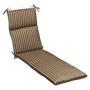 Pillow Perfect Indoor/Outdoor Brown/Beige Striped Sunbrella Chaise Lounge Cushion