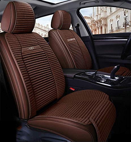 Full Set Universal 5 Seats Car PU Leather Car Seat Cushions Anti-Slip Suede Backing Car Seat Covers for Sedan SUV Seats (Color : Brown):