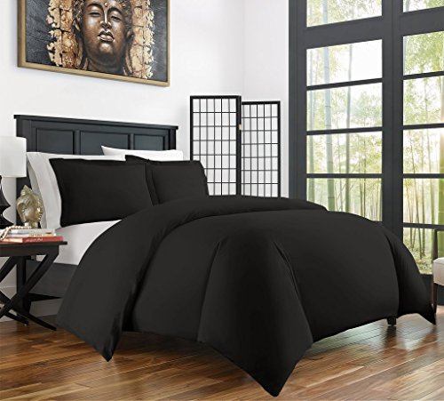 Zen Bamboo Ultra Soft 3-Piece Rayon Derived From Bamboo Duvet Cover Set -Hypoallergenic and Wrinkle Resistant - Full/Queen - Black