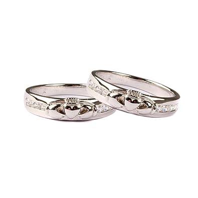 Claddagh blanco juego de anillos de boda: Amazon.es: Joyería