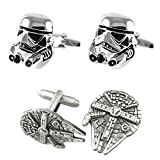 Outlander Gear Star Wars 2 Pairs Storm Trooper Silver & Millenium Falcon Superhero 2018 Movie Mens Boys Cufflinks
