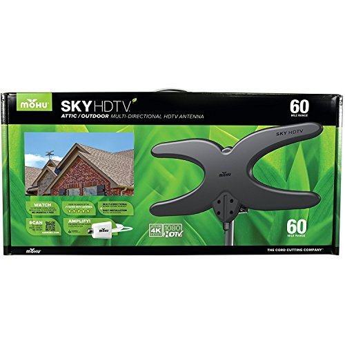 Mohu Sky 60 TV Antenna, Outdoor, Amplified, 60 Mile Range, Durable Lightweight, Mount Kit Included, Roof or Attic, 4K-Ready, 30 Foot Detachable Cable, Premium Materials for Performance, MH-110585