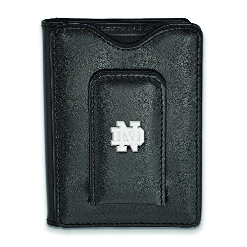 Logoart Sterling Silver Notre Dame Black Leather Money Clip Wallet