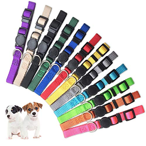 GAMUDA Pet ID Puppy Collar - Super Soft Nylon Whelping Puppy Collars - Adjustable Breakaway Litter Collars Pups - Assorted Colors Reflective Plain & Camouflage Identification Collars - Set of 12 (S)