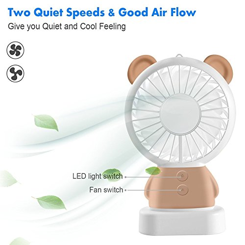 TechCode Handheld Electric Fans, Cute USB Charger Noiseless Fans 2 Speed Adjustable Rechargeable Handhold Portable Personal Fans Creative Cooling Mini Fan with Colorful Led Night Light (Brown) by TechCode (Image #8)
