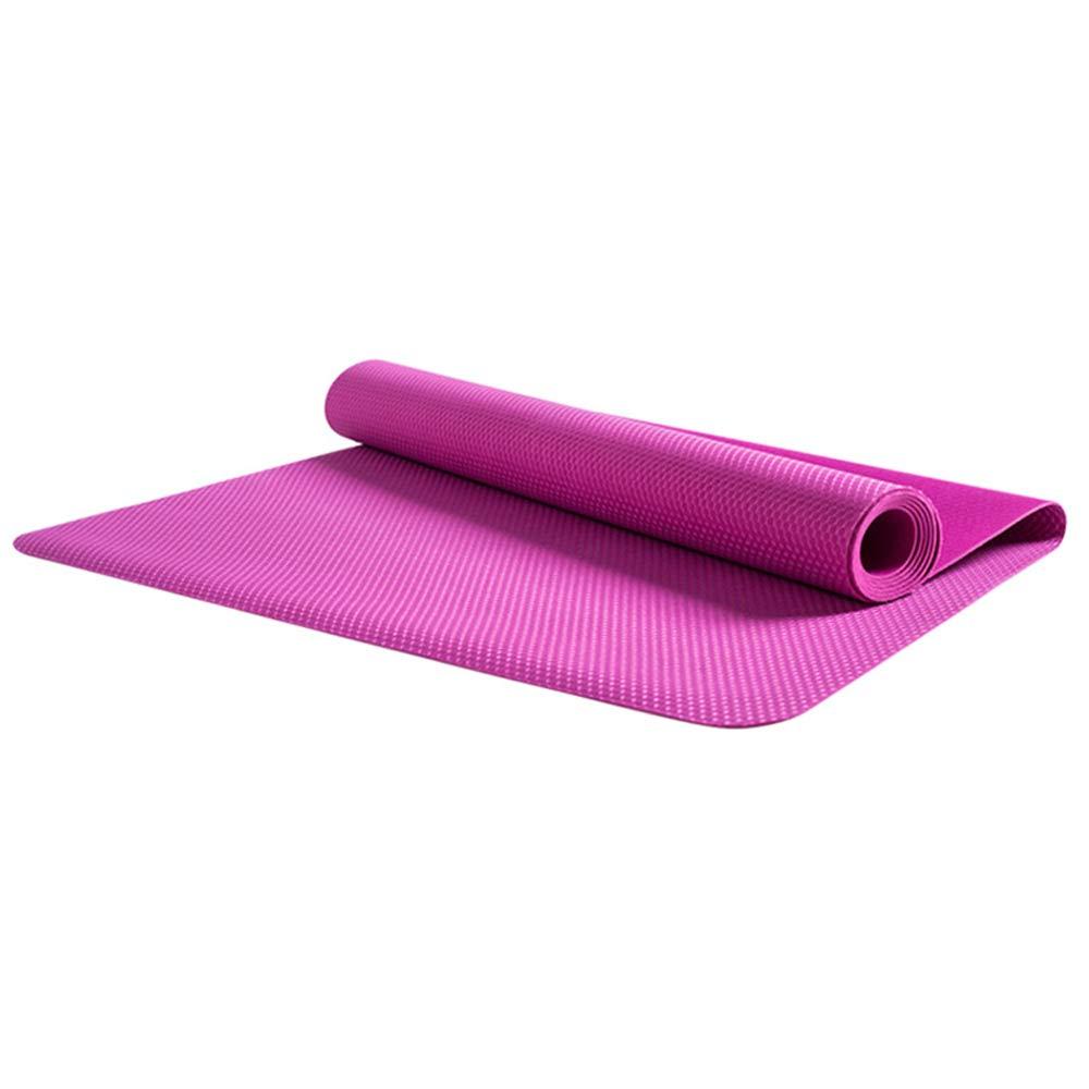 LS-Exercise Fitness Yoga Mat - Professional Natural Rubber Yoga Mat Non-Slip Female Folding Yoga Mat Ultra-Thin Portable 1.5mm Paving Fitness Mat [Send Storage Bag]& (Pattern : Rose red)