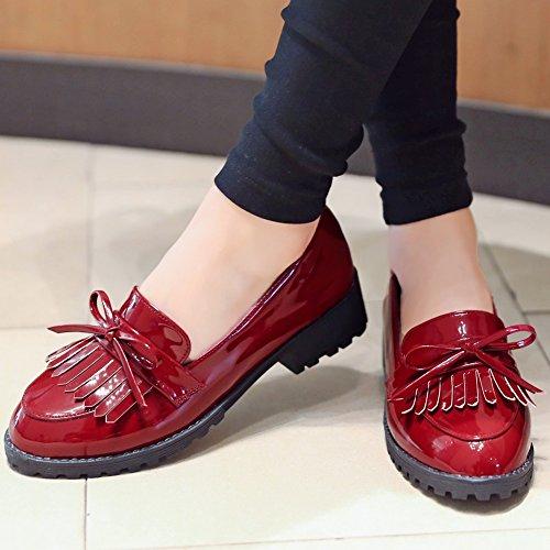 Decoración con Tacón de Mujer Calzado Zapatillas Rojo de Borla para SaraIris para SH8wX1qn