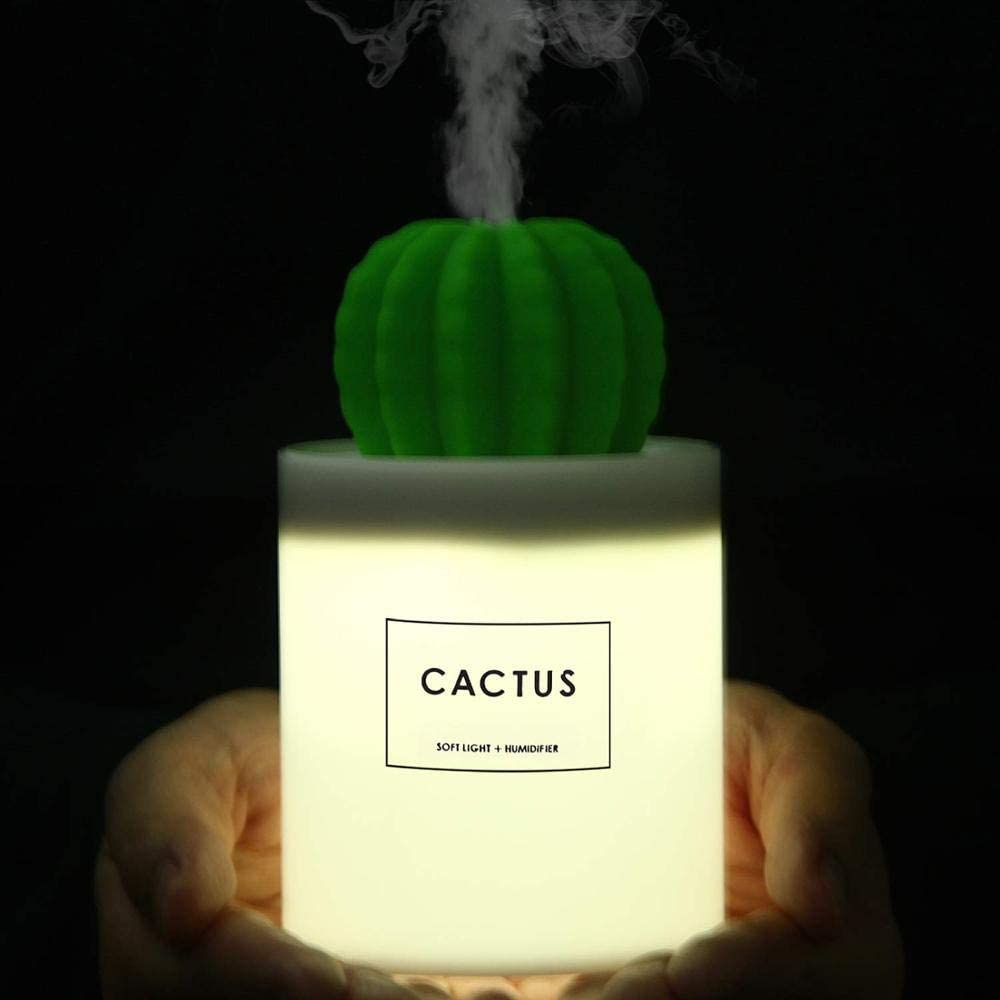 280ml USB Air Humidifier Cactus Timing Aromatherapy Diffuser Mist Maker Fogger Mini Aroma Diffuser With Night Light for Home