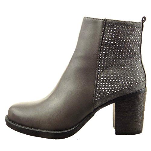 Sopily - Zapatillas de Moda Botines bimaterial A medio muslo mujer strass Talón Tacón ancho alto 7.5 CM - plantilla sintética - forradas en piel - Gris
