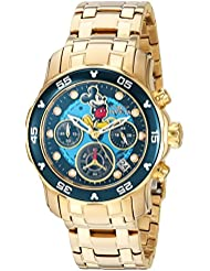 Invicta Womens Disney Limited Edition Quartz Stainless Steel Casual Watch, Color:Gold-Toned (Model: 24130)