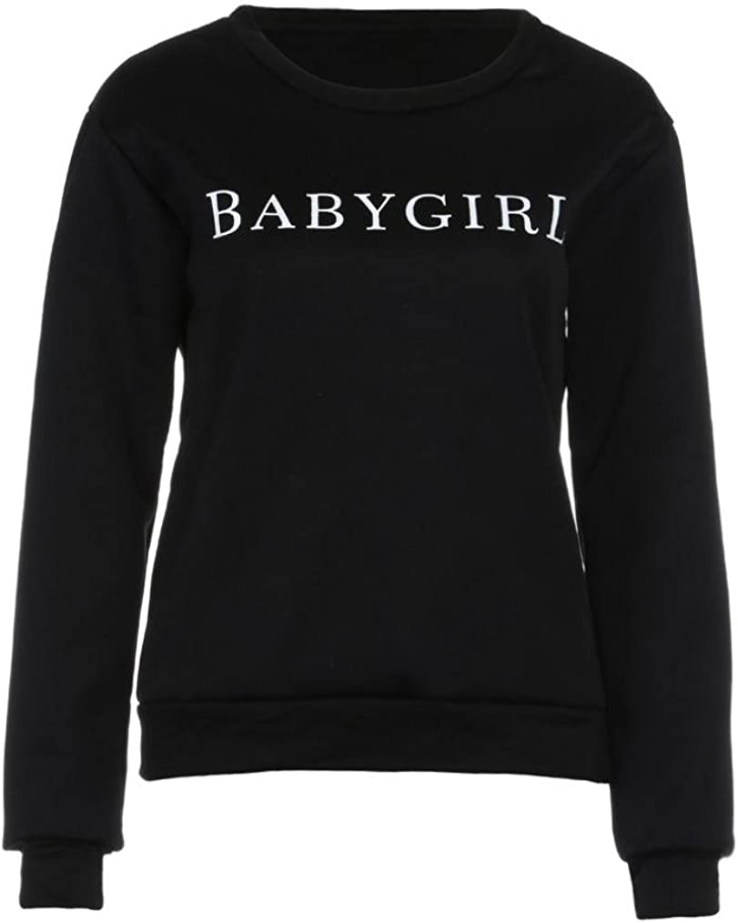 WM&MW Women Sweatshirt, Fashion Crewneck Baby Girl Letter Print Pullover Jumper Blouse Tshirt Top