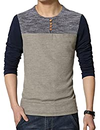 Mens Classic Fit Block Stitch Button Crew Neck Long Sleeve Henley T-Shirts