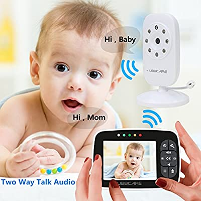 "Video Baby Monitors with Camera 3.5"" Large Screen Display Night Vision,ECO Mode,Two Way Talk Temperature Sensor Monitoring"